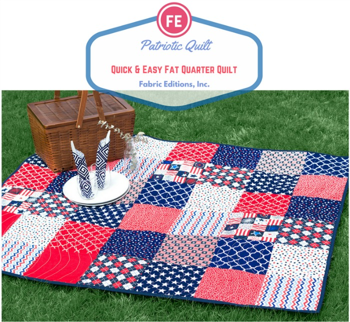 """""""Red, White & Blue"""" Free Patriotic Quilt Pattern designed by Karen S. from the Fabric Editions, Inc. Blog"""